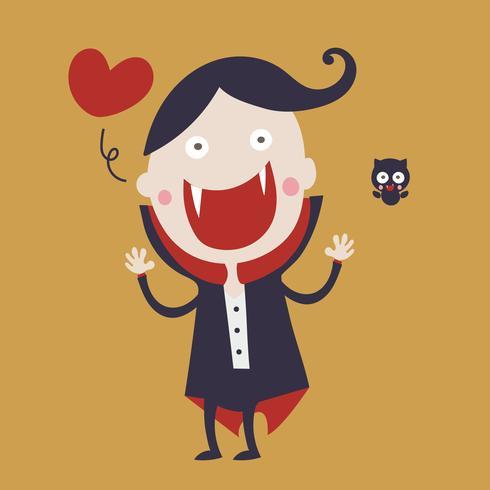 Cute dracula cartoon character wearing black and red cape 001