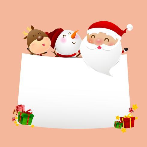 Christmas Snowman Santa claus cartoon smile on white background 001 vector