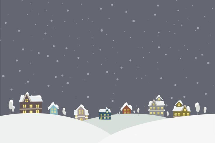 The town in the snow falling place vector illustration
