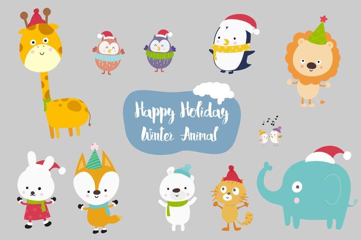 Happiness Animal cartoon set vector illustration