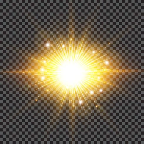 Funkelnde Sonnenstrahlen des Lichteffekts sprengten mit Splitteraufflackern auf transparentem Hintergrund. vektor