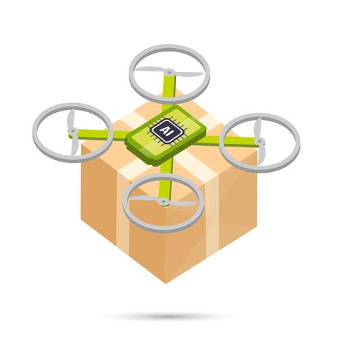 AI Artificial intelligence technology delivery drone isometric icon vector
