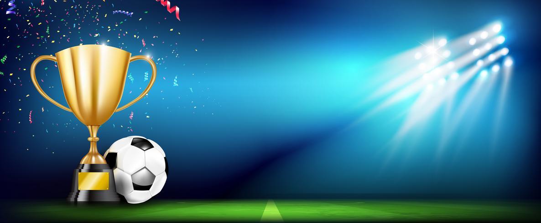 Copa de trofeos de oro y balón de futbol 004 vector