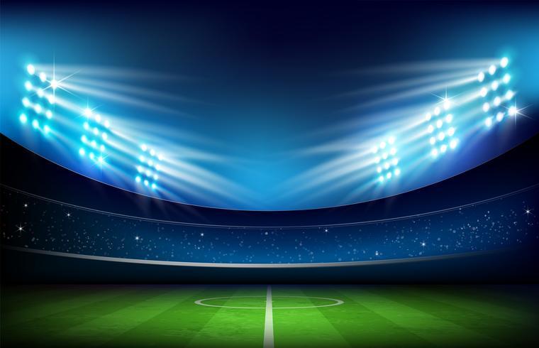 Campo futebol, com, estádio, 001 vetor
