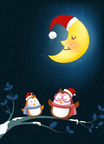 Owl cartoon smile on tree branch twig and falling snow in the winter night backgroud vector illustration 002