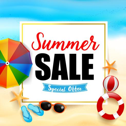 Summer sale titile on white rectangle 001 vector
