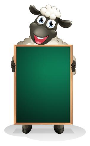 A sheep holding an empty board