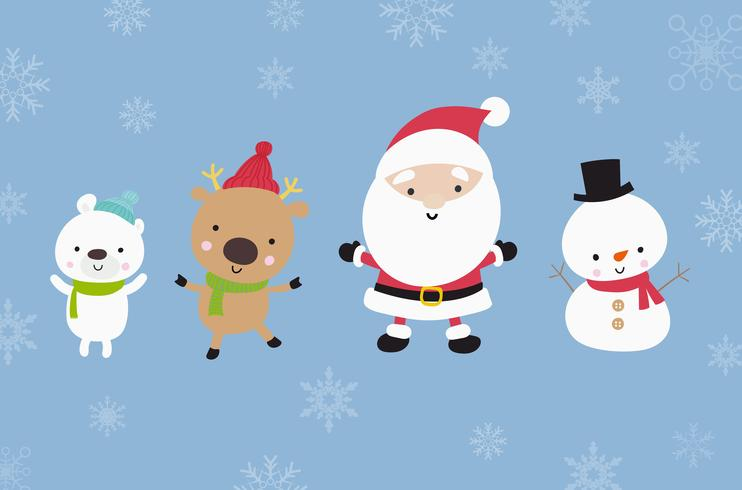 Cute Santa snowman and animal cartoon happiness in snow 002 vector