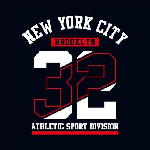 Athletic Brooklyn New York City design tipografia per la stampa tshirt
