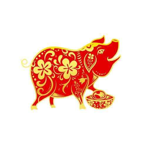Art contemporain chinois contemporain ligne cochon sourire rouge et doré 001