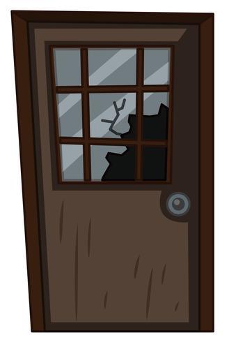 Holztür mit zerbrochenem Fenster
