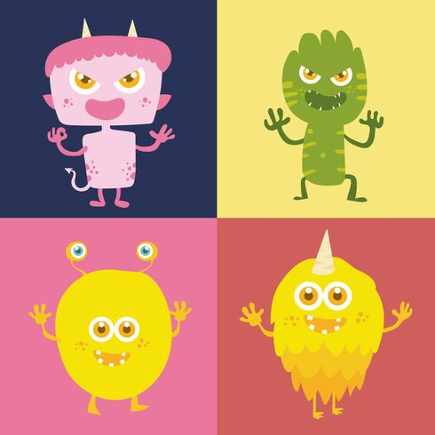 Set of Cute monster cartoon character 003