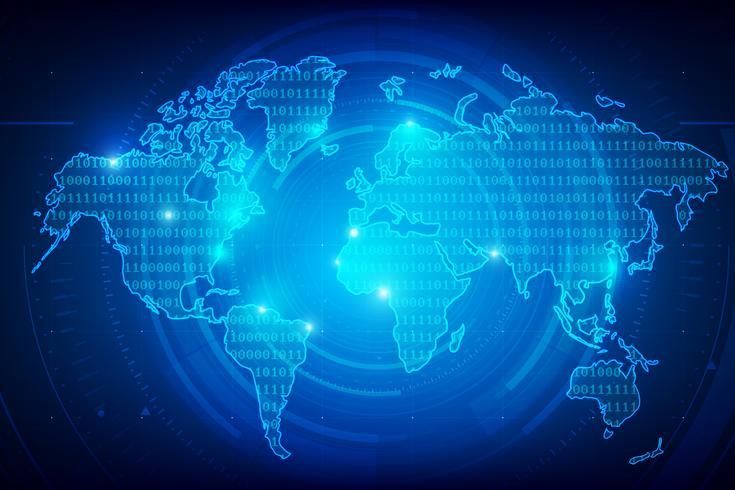 Fondo abstracto mundo mapa binario dígitos textura 001