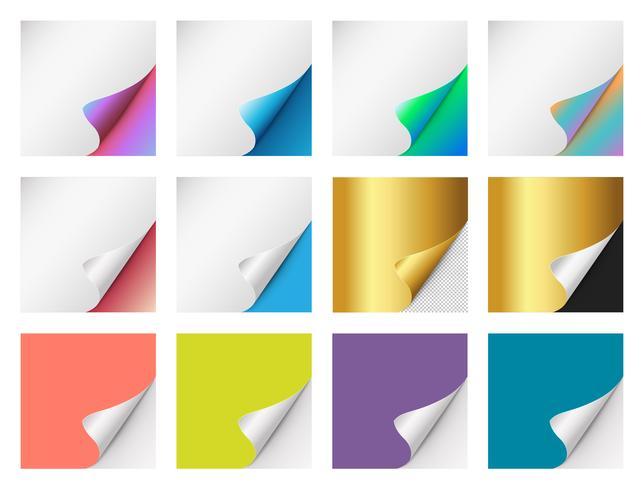 Reeks kleurrijke gekrulde hoeken van het Document voor reclame en verkooppromo. papier met krullenhoek voor boek en brochure met transparante achtergrond.