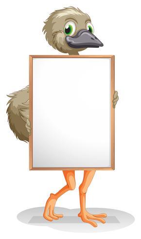 Een struisvogel met een leeg bord