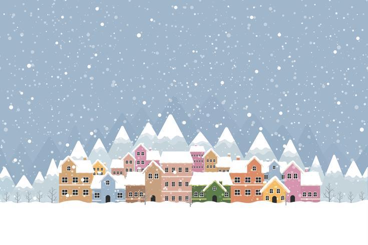 Estilo simples de cidade de inverno com neve caindo e montanha 001