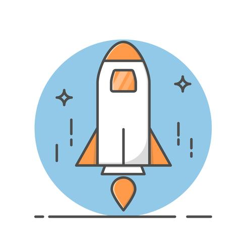 Thine Line art Rocket para iconos web. símbolo de vector de ilustración