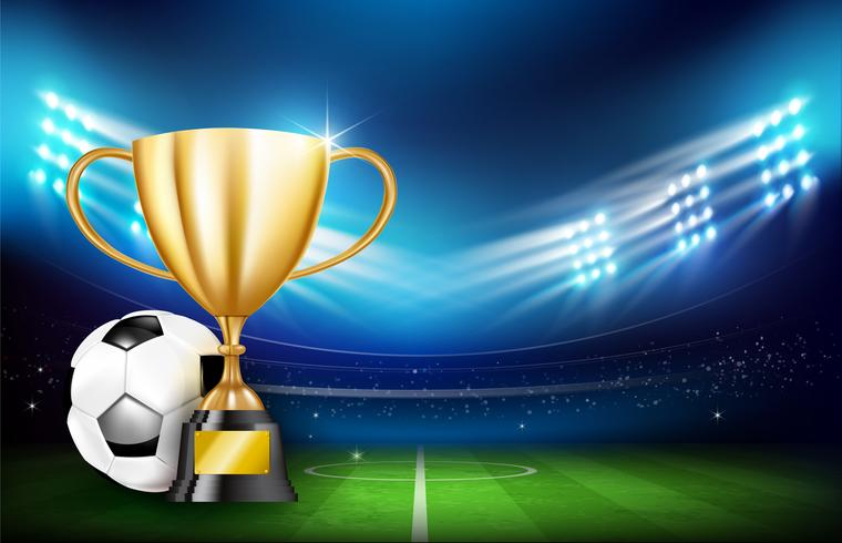 Golden trophy cups and Soccer ball 001 vector
