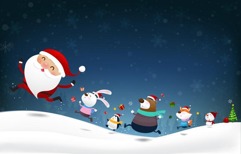 Il pupazzo di neve di Natale il Babbo Natale e il fumetto animale sorridono con neve che cade fondo 001