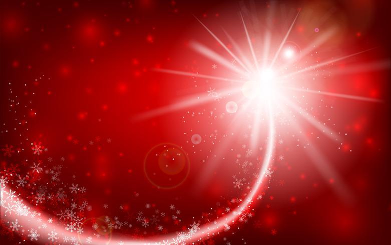 Fiocco di neve di inverno che cade con lo scintillio e che si accende sopra il fondo astratto rosso per l'inverno e natale con lo spazio della copia e l'illustrazione 003 di vettore