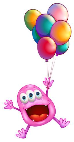 A monster with balloons