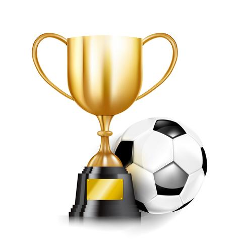 3D Golden trophy cups and Soccer ball 001