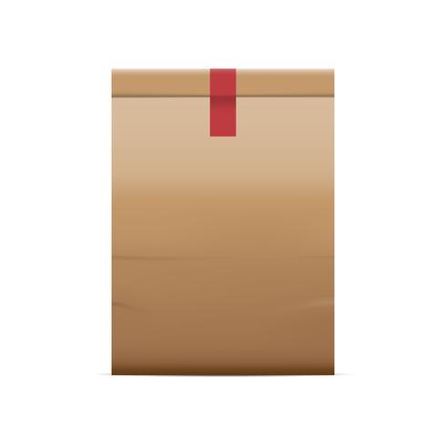 Sacchi di carta marrone isolati su sfondo bianco, illustrazione vettoriale.