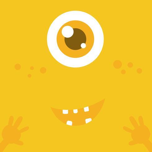 Visage de dessin animé monstre mignon sur fond abstrait jaune 001