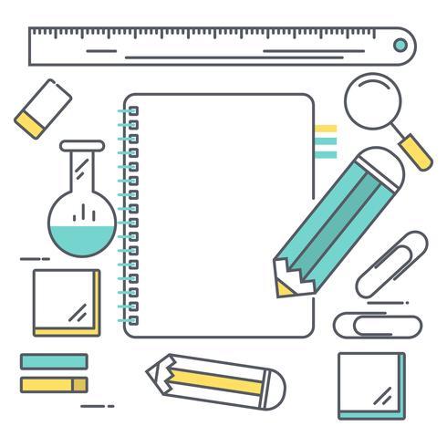 Lijnkunst Welkom terug op schoolachtergrond. potlood schrijven op lege laptop voor tekst. vectorillustratie