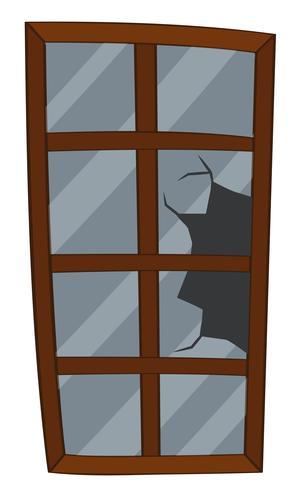 Window with broken glass vector