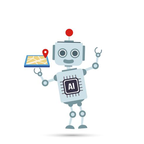 Intelligence artificielle de l'intelligence artificielle Un robot technologique tient une carte gps