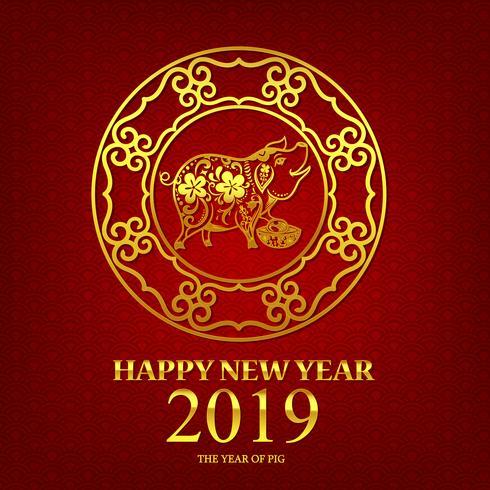 Gott nytt år 2019 kinesisk konststil gris 002 vektor