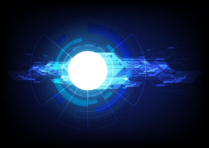 Tecnologia digital abstrata e conceito de comunicação. Inovação de alta tecnologia do computador no fundo azul. Eps10 de ilustração vetorial.