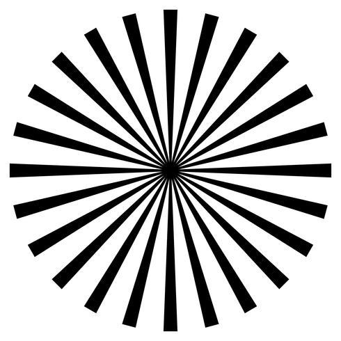 svartvitt strålarelement. Sunburst, starburstform på vit. Radiell cirkulär geometrisk form.