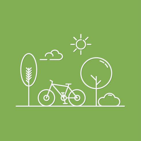 Bicycle and trees  in central park of spring or summer.  Flat line vector illustration of cityscape. minimal style.