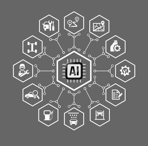 Inteligencia artificial AI Tecnología de ícono de auto y transporte y elemento de diseño vector