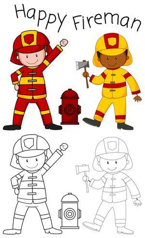 Doodle personaggio vigile del fuoco felice vettore
