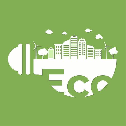estilo minimalista plana com lâmpada e cidade paisagem fundo de construção. Pense verde e ecológico. Dia Mundial do Meio Ambiente.