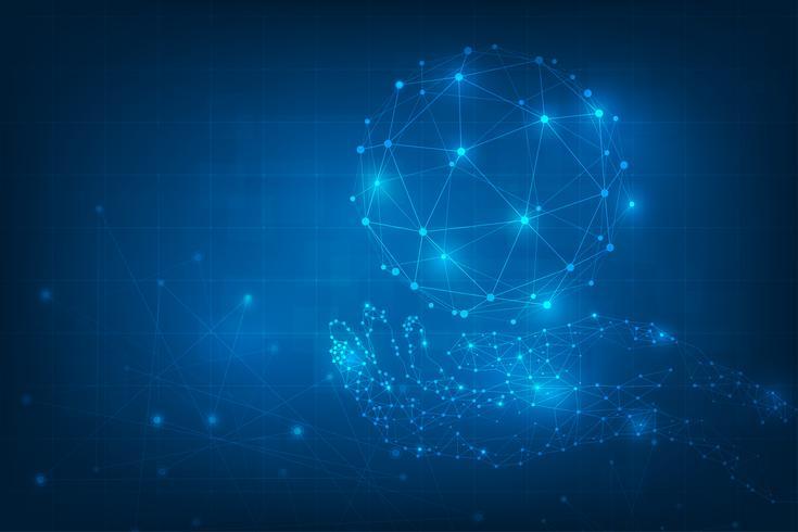 Sammanfattning teknik bakgrund. Geometriska händer som håller jordklotet. Globala nätverksanslutningar med punkter och linjer. teknik digital värld av företagsinformation. futuristiskt blått virtuellt grafiskt gränssnitt.