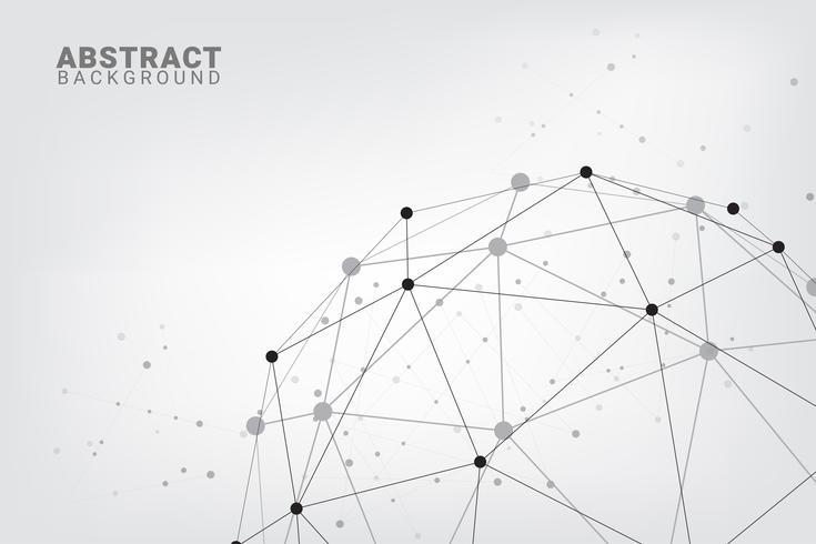 Fond de technologie abstraite. Fond de vecteur géométrique. Connexions réseau globales avec des points et des lignes.