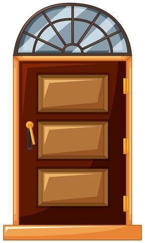 Houten deur met glas op de top