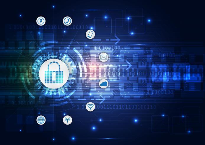 Conceito da segurança, cadeado fechado em digital, segurança do cyber, sumário azul olá! Ilustração do fundo do vetor da tecnologia do Internet da velocidade.