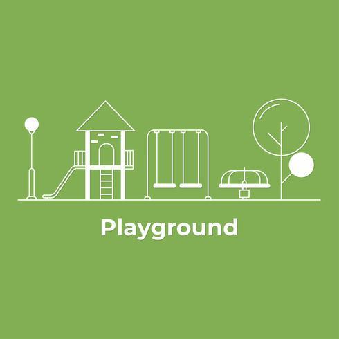 Parco giochi nel parco centrale di primavera o estate. Illustrazione di vettore di linea piatta del paesaggio urbano. stile minimal.
