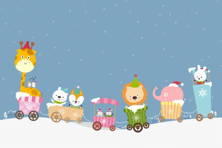 Desenhos animados animais no trem sorriam com felicidade 001