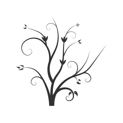 Siluetta dei rami di albero di vettore con foglie.