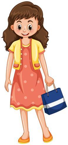 Mujer feliz con el bolso de compras vector