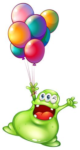 A monster with metallic balloons