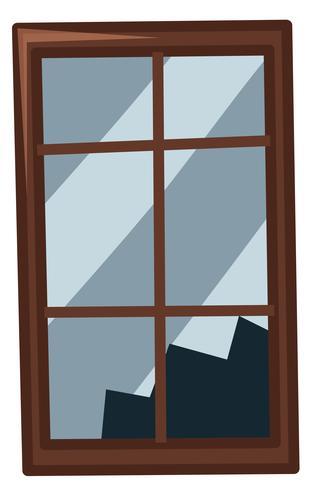 Broken window on white background
