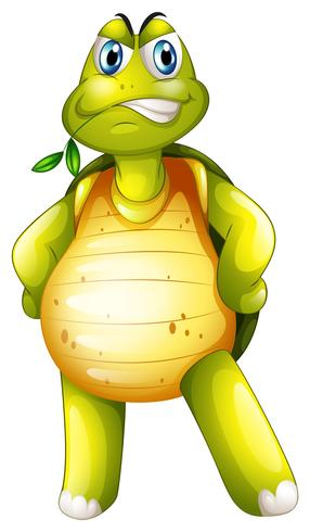 Uma tartaruga em pé sozinho