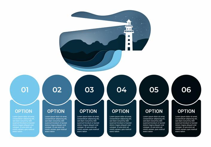 Business infographic. Infographics diagram with lighthouse paper art. template for presentation.